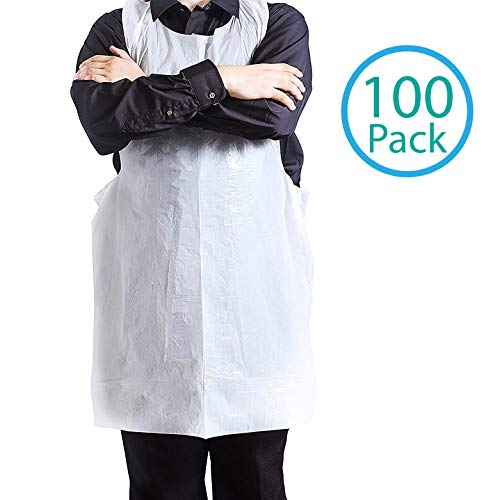 Disposable Aprons - 100 Plastic Aprons for Painting, Cooking or Any Other Messy Activities by Upper (Kids Disposable Aprons)