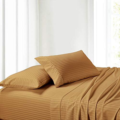 (Exquisitely Lavish Sateen Stripe Weave Bedding by Pure Linens, 300 Thread Count 100-Percent Plush Cotton, 3 Piece Twin Extra Long (Twin XL) Size Deep Pocket Hemmed Sheet Set, Bronze)