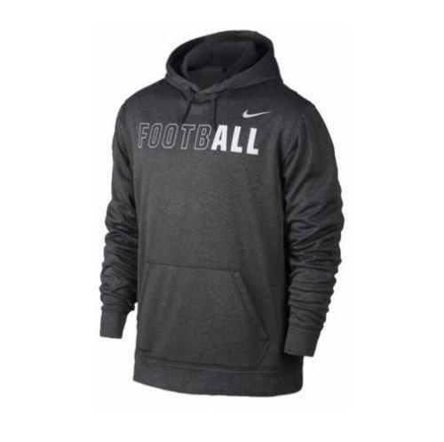 Nike KO Mens Football Hoodie Dark Charcoal Gray-White - Large (Nike Football Sweatshirt)