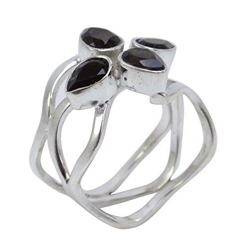 Banithani925 anneau de pierres précieuses topaze fumée bijoux en argent de mode indien