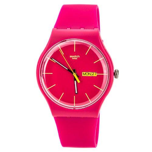 Swatch Rubine Rebel Pink Dial Plastic Silicone Quartz Ladies Watch SUOR704