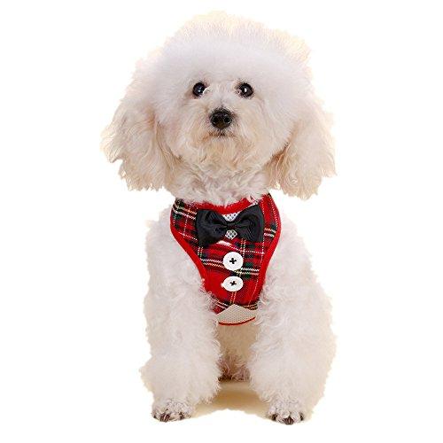 LXLP Dog Tuxedo,Pet Harness belt Leash, Bowtie Gentleman Suit Boy Harness Vest for Dogs with Handle,7 Stylish Colors (L, Red Plaid)