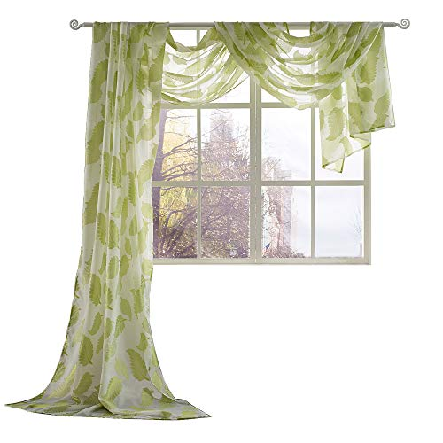 (KEQIAOSUOCAI Leaves Embroidery Sheer Window Valance Semi Voile Scarf 1 Piece, 52 inch Wide by 216 inch Length,Green)
