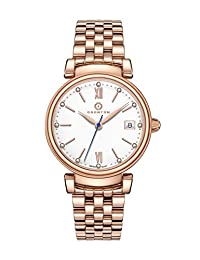 Granton Women's Rose Gold-Tone Diamond Accented Enamel Dial Wrist Watch for Ladies – Swiss Movement Stainless Steel – Female – Imperial Collection IMP.10043WH.RG