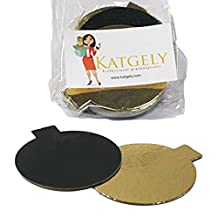 Katgely Mini Single Portion Cake Boards Double Sided Gold & Black, 3 1/8- by Katgely Inc