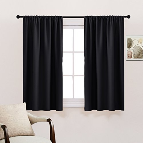 indow Blackout Curtains Drapes - Thermal Insulated Window Treatments Light Block Short Curtain Panels Rod Pocket for Small Window by, W 42 x L 54 inches, Black, One Pair (Short Curtain Panels)