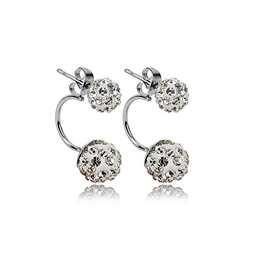 Ears Bunny Regular (YingNeng 1 Pair Women Jewelry Crystal Double Balls Beads Full Rhinestone Stud Earrings - White)