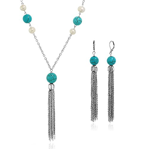 Gem Stone King 28inches Simulated Turquoise Pendant Earring Set with Cultured Freshwater ()