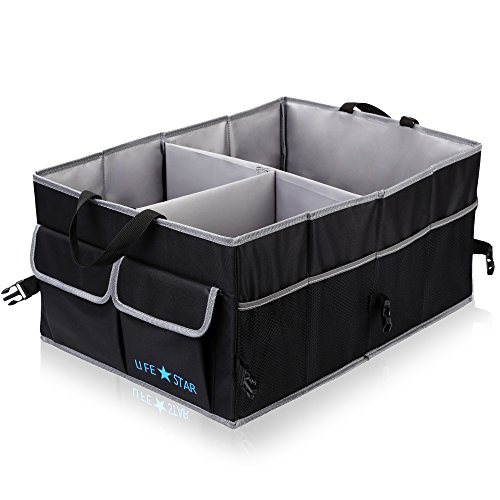 Car Trunk Organizer for Cargo w/ Anti-Sliding and Waterproof Button | Multipurpose Foldable Durable Collapsible Auto Storage Box for SUV & any Vehicles | Women, Men | by LifeStar – Blac