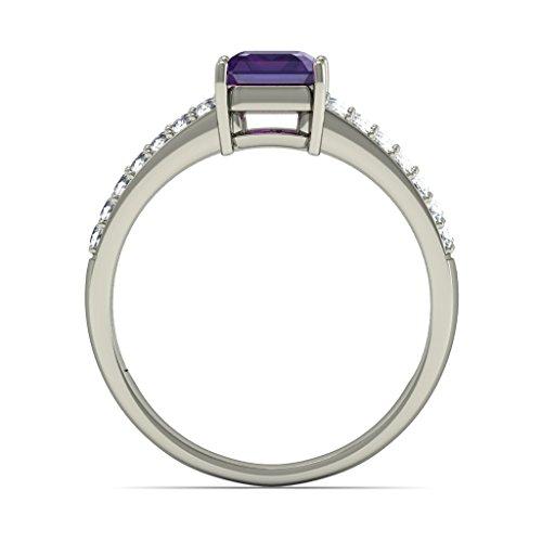 18K Or Blanc, 0,28carat Diamant Taille ronde (IJ | SI) Améthyste et diamant Bague