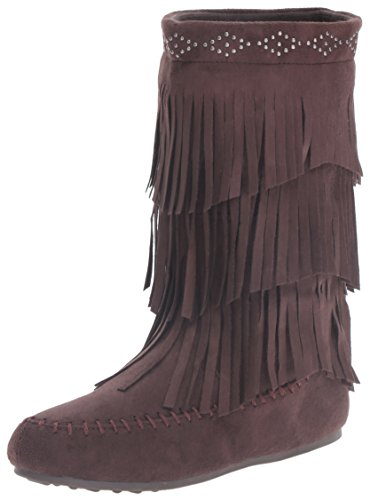 Girl Fringe Boots (Rampage Girls' Heather Pull-on Boot, Brown, 12 M US Little Kid)