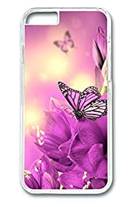 Brian114 Violet Flower And Butterfly Phone Case for the iPhone 6 Plus Clear
