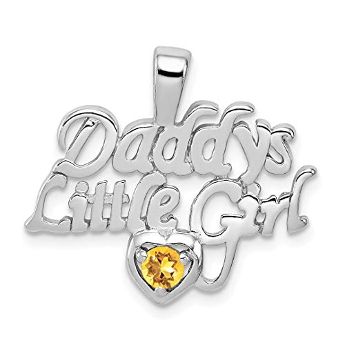- 925 Sterling Silver Citrine Daddys Little Girl Pendant Charm Necklace Fine Jewelry For Women Gift Set