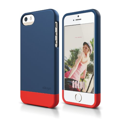 elago S5 Glide Case Limited-Edition for iPhone 5/5S - eco Friendly Retail Packaging (Jean Indigo/Red)