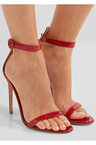 Shoes Sandals Strap Heels Open Party Red 12cm Heel A Ubeauty High Toe Ankle Buckle For Womens Stiletto Peep XqSWz