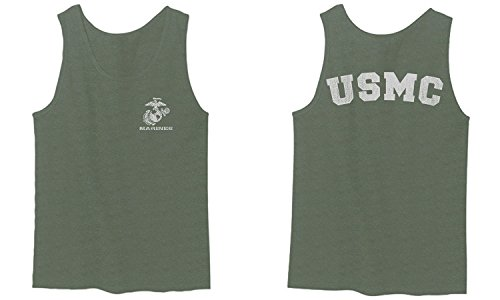 USA American Logo Seal Marine Corps USMC United Men's Fitted Tank Top (Olive, Large)