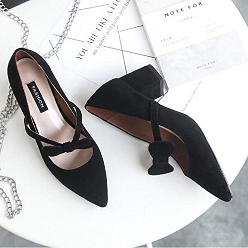 Shoes Chunky Women'S Summer Suede Black Heels Almond Black Pump Gray QOIQNLSN Basic Toe Closed Spring Heel 4gUwx