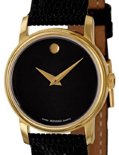 MOVADO Swiss Men's Analog Round Gold-Tone Watch Black Leather Band 2100005 (Leather Strap Black Museum)