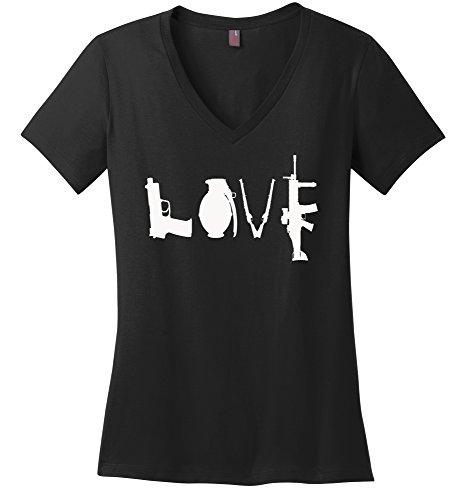 Comical Shirt Ladies Gun Love T Shirt Pistol Rifle 2nd Amendment Black ()