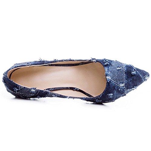 COOLCEPT Mujer Moda Cerrado Puntiagudo Tacon Estilete sin Cordones Bombas Zapatos Dark Blue