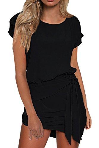 MIHOLL Women's Smmer Short Sleeve Round Neck Self Tie Mini Dresses (Black, Medium) - Neck Design