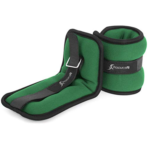 Prosource Fit Ankle Wrist Weights Set of 2, Adjustable Comfort Fit, 1 lb for Women, and Men, Green
