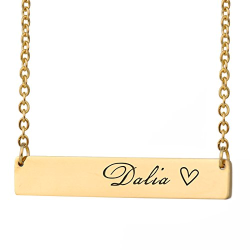 HUAN XUN Dalia Name Name Bar Necklace Gold Bar Initial Necklace Personal Jewelry Birthday Valentine Gift