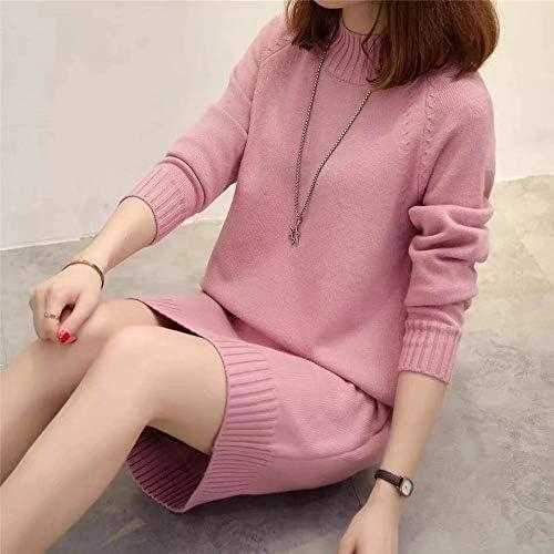 2020 Donne Oversize di Base Maglione Femminile Solid Dolcevita Pullover Collare Autunno Caldo Maglione Inverno (Color : Pink) Pink