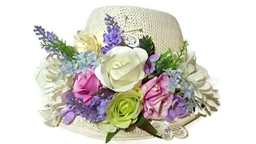 Euro Co Costumes (Womens Sun Hat Brim with Artificial Flowers Colorful Hat Summer Beach Cap special time also. Handmade)