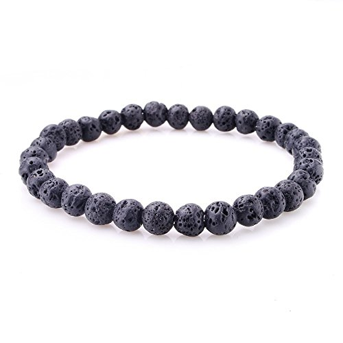 jennysun2010 Handmade Natural Volcanic Lava Gemstone Smooth Round Loose Beads 6mm Stretchy Bracelet Healing  7'' Inches Wrist ( 30pcs Beads in the Bracelet )
