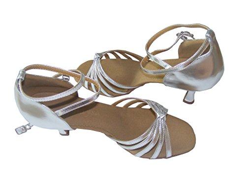 Colorfulworldstore Zapatos de baile latino con cinco correas de poliuretano acabadas en nudo en color dorado/plateado/púrpura plateado