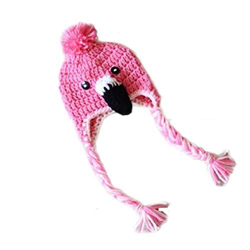 Kids Winter Flamingo Knitted Beanie Hat Ball Pom Pom Earflaps Child Ear Cap