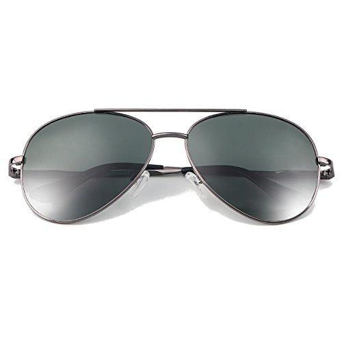 Gris Lente Sol Lente y Para YUFENRA de Mujer Hombre Verde Marco Completo Para Aviador de Gafas Antirreflejante UV400 AUqZwUg