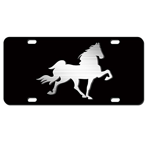 (Tennessee Walking Horse License Plate Brushed Aluminum on Black 2-D Heavy Duty Car Tag)