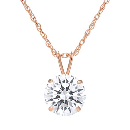 (SOLIDGOLD - 14K Gold Pendant with CZ Round Solitaire Stud & Adjustable Chain Size 7mm in Rose Gold)