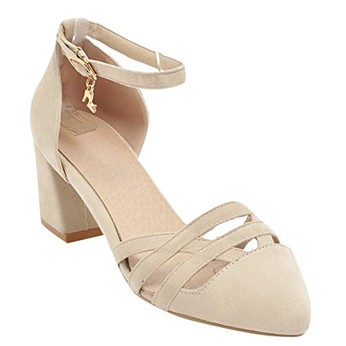 Damen Court Schuhe Mee Shoes Beige Heel Buckle Mid Charm 71UAqxwg