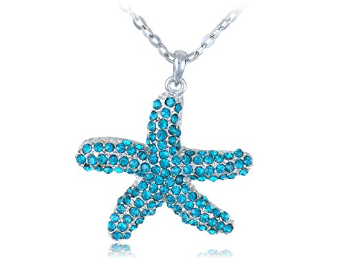 Alilang Silvery Tone Aquamarine Blue Colored Rhinestones Star Fish Pendant Necklace -