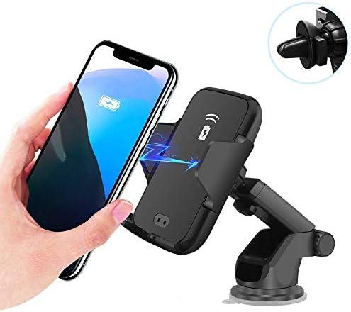 車のワイヤレス充電器高速Qi 10W自動クランプワイヤレス高速充電携帯電話ホルダー互換性のあるiPhone Xs Max 8 Plus Samsung GalaxyS10 + S9 + Note