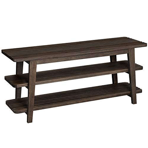 VASAGLE Bamboo Shoe Bench, 3-Tier Shoe Rack with Cutout Design, Stable Storage Organizer for Living Room, Entryway, Bedroom, Tower Design, 39.4 x 12.2 x 17.7 Inches, Walnut Color ULBS100WN