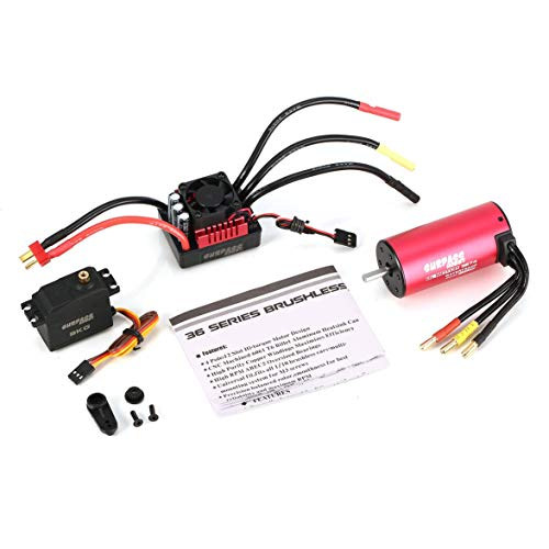 Pandamama SURPASSHOBBY S3674 2250KV Brushless Motor S-80A ESC with 9.0kg HV Servo Upgrade Brushless Combo Set for 1/10 RC Car Truck