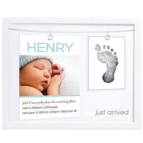 "Pearhead Birth Announcement Keepsake Frame with ""Clean-Touch"" Ink Pad, White from Pearhead"