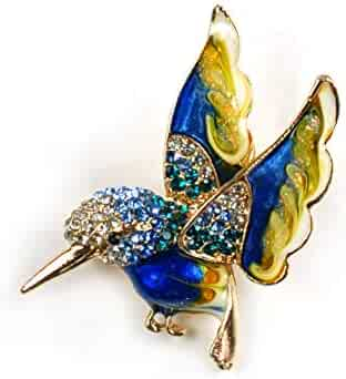 8caf48d54 Beautiful Enamel Hummingbird Brooch Crystal Spring Birds Jewelry Collection  Wedding Women Teen Girls Pin Holiday Jewelry