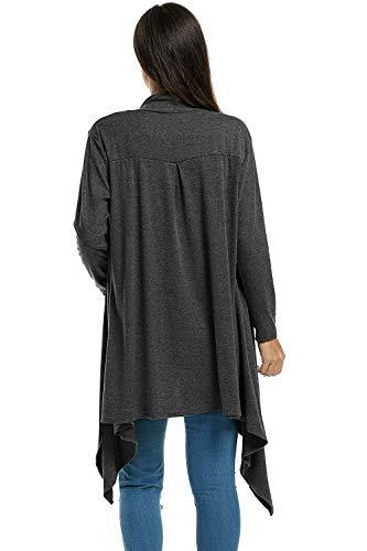 A Pullover Maglia Outwear Giovane Pieghe Moda Manica Giubotto Casual Donna Schwarz Monocromo Irregular Confortevole Autunno Stile Giacca Modern Lunga qwAfq