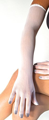 White Matte Spandex (Evening Gloves Sheer Seamless Nylon Lycra Opera Length (White) matte dressy vintage seamless elegant luxury bridal costume dance gloves unisex woman's Lady's elbow length evening gloves bride wedding)
