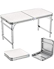 Folding Table 4ft Portable Adjustable Aluminum Alloy Indoor and Outdoor Dining Table with Portable Handle for Picnic Camping Barbecue