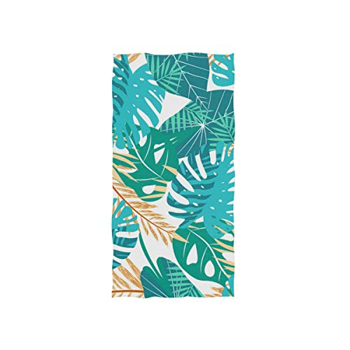 DOMIKING Tropical Colorful Leaves Flowers Print Soft Bath Towel Absorbent Fade Resistant Pool Beach Bath Towel for Bathroom Hotel Gym and Spa, 30