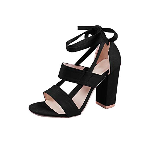 Strappy High Lace Sandals Wrap Block Syktkmx Ankle Peep Heel Pumps black Up Toe Chunky Womens B qT5O5wCWU