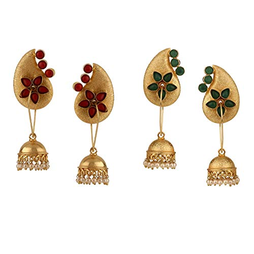 Efulgenz Indian Bollywood Jewelry 14K Gold Plated Crystal Pearl Floral Leaf Dangle Drop Big Jhumka Earrings Set of 2