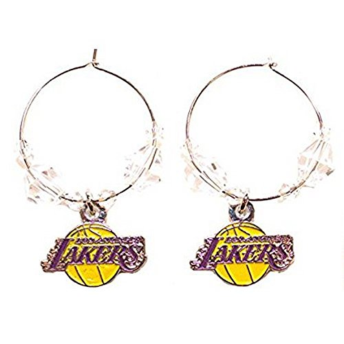 NBA Officially Licensed Los Angeles Lakers Beaded Hoop Earrings by NBA