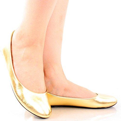 Women New Fashion Ballerina Ballet Flat Basic Round Toe Sexy Comfort Soft Slip on Shoes Gold EVEYBZYz